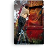 Graffiti artists at work Canvas Print