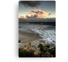 Evening on a Winters Beach... Canvas Print