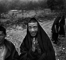 Wu Tai Shan Monks by David  Lange