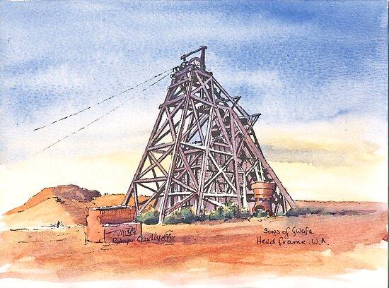 Sons of Gwalia Headframe Gwalia West Australia. by robynart