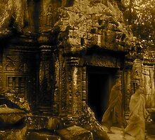 Monks at Angkor Wat by Louise Fahy