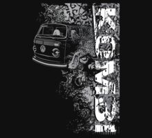 Volkswagen Kombi Tee shirt - Grunge black and white by KombiNation