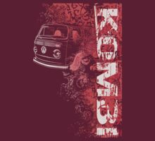 Volkswagen Kombi Tee shirt - Grunge Red by KombiNation