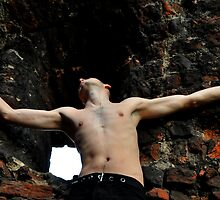 man  on the bricke wall by halina1601