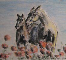 Horses in meadow by Jayde Nossiter