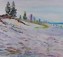 Surfers Paradise Highrises from Broadbeach circa 1984 by Virginia McGowan
