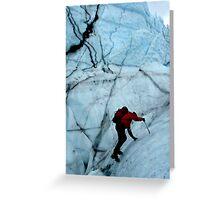 Ice climber hikes ice Greeting Card