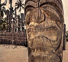 Hawaiian tiki warrior by Yves Rubin