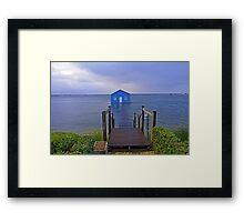 Crawley Edge Boatshed Storm Surge  Framed Print