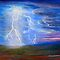 Lightning Storm in Blue Landscape by Lenora