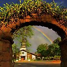 Haleiwa Oahu  rainbow and Church by milton ginos