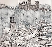 Durham City From the Battery by GEORGE SANDERSON