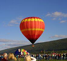 Orange Balloon Take-Off by Abbey Walls