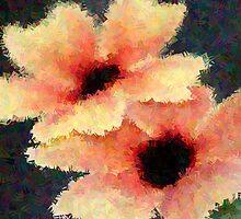 Peach Flower Art by Deborah  Benoit