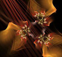 Orange Softness and Delicate Flowers by Deborah  Benoit