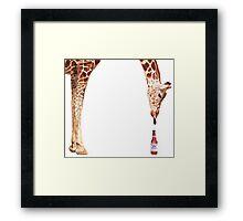 """Licker with Beer"" Giraffe Watercolor Framed Print"