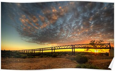 Sunrise Over Algebuckina Bridge by Jeff Catford