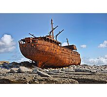 rusty old ship aran islands, county clare, ireland Photographic Print