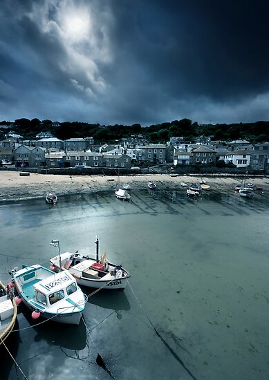 Cornwall : Moonlit Mousehole by Angie Latham