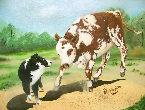 Australian Shepherd Cowdog~ Oil Painting by Barbara Applegate