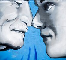 Graffiti showing Maori greeting by rubbibg noses ( Hongi) by yurix