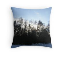 Blue Snow Throw Pillow