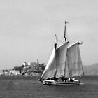 Boat sailing by Alcatraz by Allison Aboud