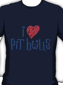 I Love Pit Bulls (Light Colors) T-Shirt