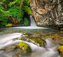 waterfall in french mountain by patrick pichard