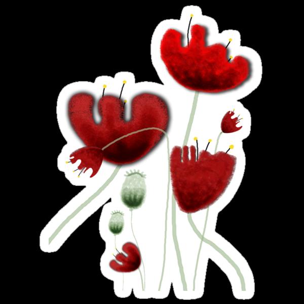 Poppy red granate sexy landscape summer france bloom garden t-shirt by Ruth Fitta-Schulz