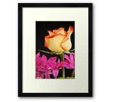 Yellow Rose with Pink Flowers Framed Print