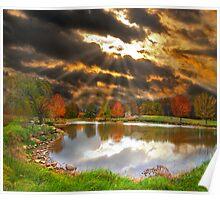 Pond Sunray Sunset Poster