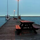 on the dock at sunset by 1busymom