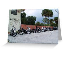 bikes at no name saloon in color Greeting Card