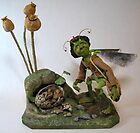 Dittles Disturbing Discovery - art doll sculpture by LindaAppleArt