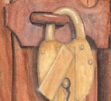 Brass Lock on Wooden Door by Ken Powers