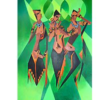 Three Ethnic Traditional Black Women Dancing Photographic Print