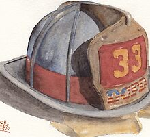 Fire Fighter Helmet with Melted Visor by Ken Powers