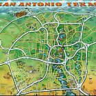 San Antonio Texas Cartoon Map by Kevin Middleton