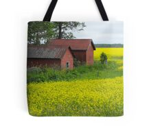 Red Sheds, Yellow Fields Tote Bag