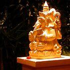 Stone statue in Murni's Warung, Ubud, Bali by JonathaninBali