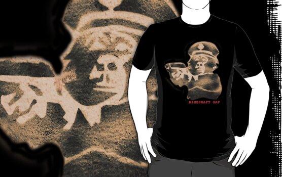 monkey with a gun - black t by Pete McConvill