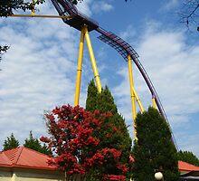 Colors of Amusement--Tree and Coaster by sadeyedartist