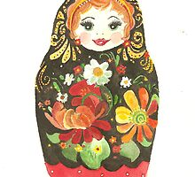 Russian Doll With Flowers and Black Background by Courtney Carlson