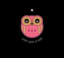 Wish Upon A Star - Pink Owl by Louise Parton