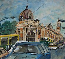 City Landscape: Flinders Street Station by Lozzar Flowers & Art
