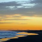 Beautiful orange sunset, Stockton Beach, NSW by TheSpaniard