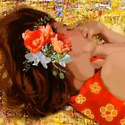 Girl on Yellow Quilt by F.A. Moore