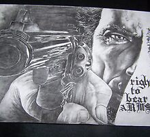 Clint Eastwood,with gun skin pores,sweat,detailed by perfectpencil