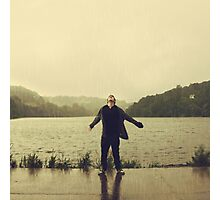 the rain falls hard on a humdrum town Photographic Print